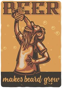 T-shirt o poster design con illustrazione di un uomo con un bicchiere di birra.