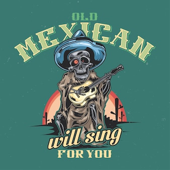 T-shirt or poster design with illustration of mexican musician