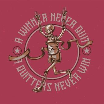 T-shirt o poster design con illustrazione dello scheletro in esecuzione.