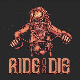 T-shirt or poster design with illustration of a skeleton on bike.