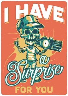 T-shirt or poster design with illustration of a skeleton with a bomb.
