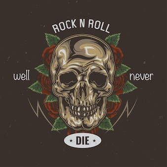 T-shirt or poster design with illustration of skull and flowers on the background