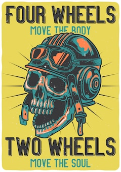 T-shirt or poster design with illustration of a skull with helmet.