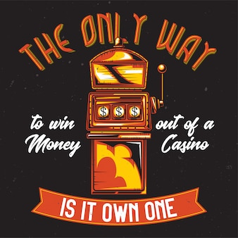 T-shirt o poster design con illustrazione di una slot machine.