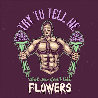 T-shirt or poster design with illustration of a sportsman with flowers.