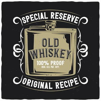 T-shirt or poster design with illustration of whiskey flask