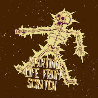T-shirt or poster  with illustration of electric shock skeleton