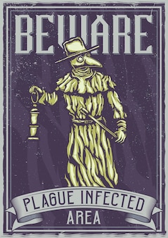T-shirt or poster  with illustration of plague doctor