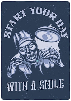 T-shirt o poster con l'illustrazione del dentista spaventoso