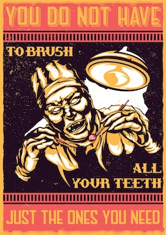 T-shirt or poster  with illustration of scary dentist
