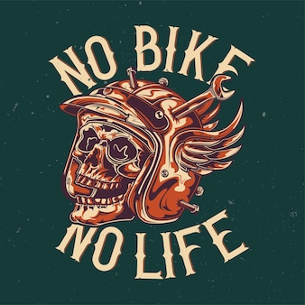 T-shirt or poster  with illustration of skull at damaged motorcycle helmet