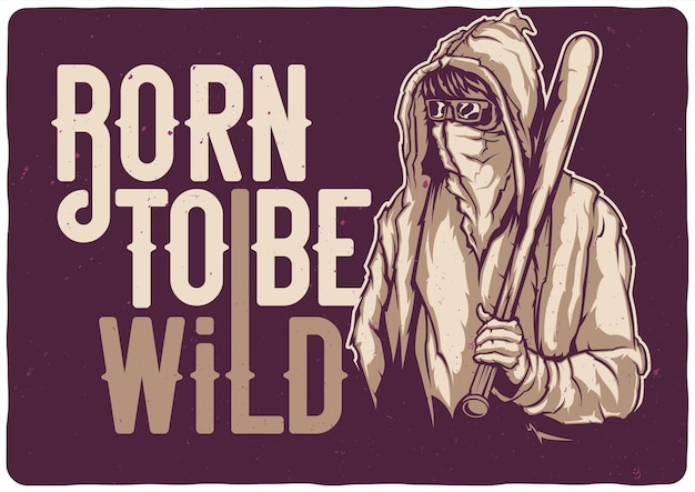 T-shirt or poster  with illustration of street bandit