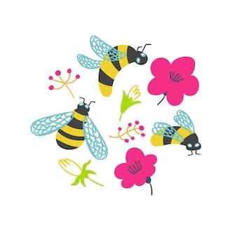T shirt print bumblebees flowers