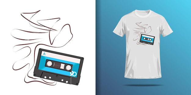 T shirt print of compact cassette