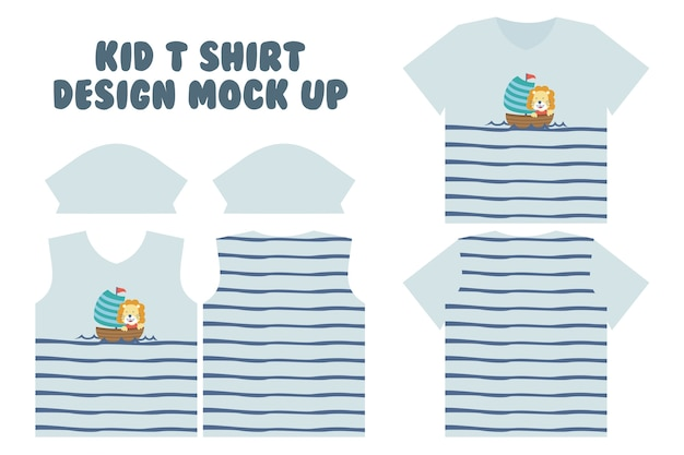 T shirt print design, front and back t shirt mock up design, cute little lion do sailing