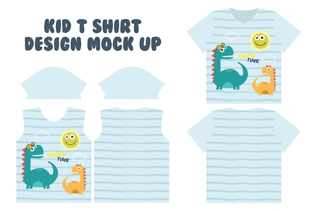 T shirt print design, front and back t shirt mock up design, cute summer time playing dino