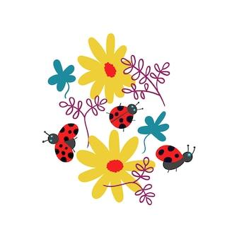Футболка с принтом божьих коровок и цветов