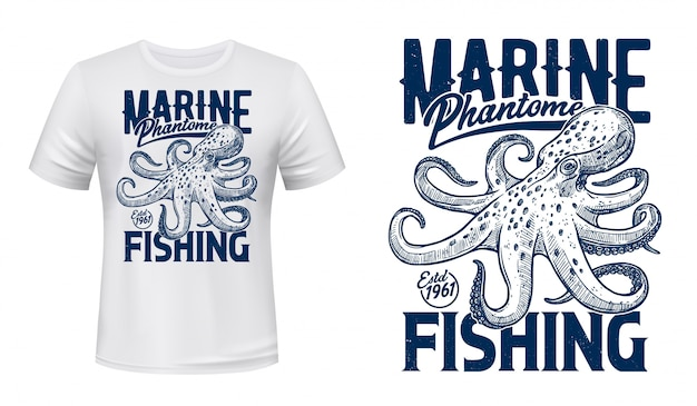 T-shirt print, marine fishing club, ocean octopus