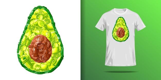 Футболка с принтом авокадо