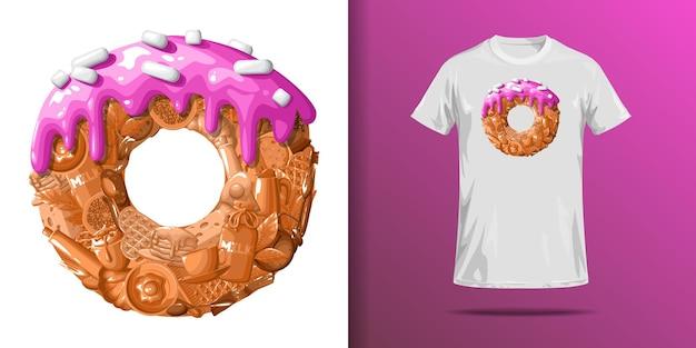 Футболка с принтом пончика