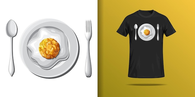 T shirt print of plate of eggs