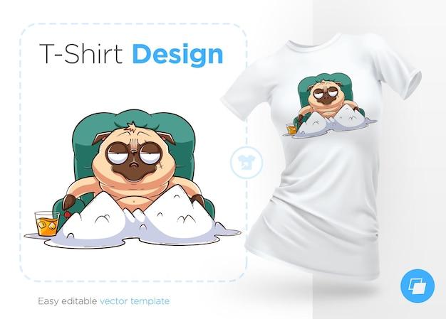 잔인한 퍼그 갱스터가 새겨진 티셔츠 프린트가 하얀 가루 산 앞에 앉아 있습니다.