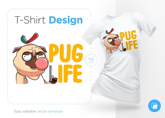 T-shirt print with brutal pug gangster with gun.