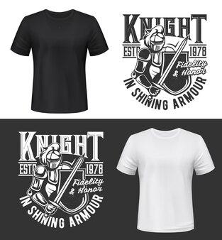 騎士、刀、盾のtシャツプリント