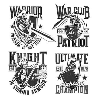 騎士が盾と剣のマスコットを持ったtシャツプリント