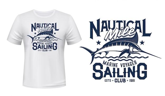말린 피쉬 낚시 클럽 마스코트 프린트 티셔츠