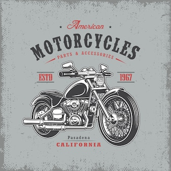 T-shirt print with motorcycle on light background and grunge texture