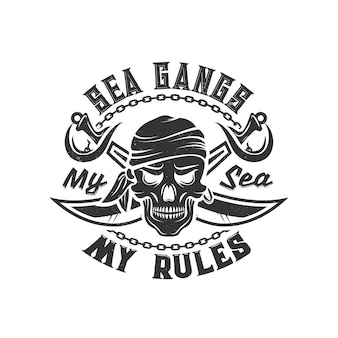 T-shirt print with pirate skull in bandana and crossed sabers