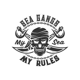 Принт на футболке с пиратским черепом в бандане и скрещенными саблями