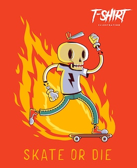 スタイリッシュなスケルトンスケーターのtシャツプリント。トレンディなヒップスタースタイルのイラスト。
