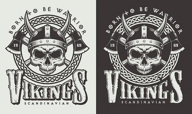 바이킹 헤드가있는 티셔츠 프린트