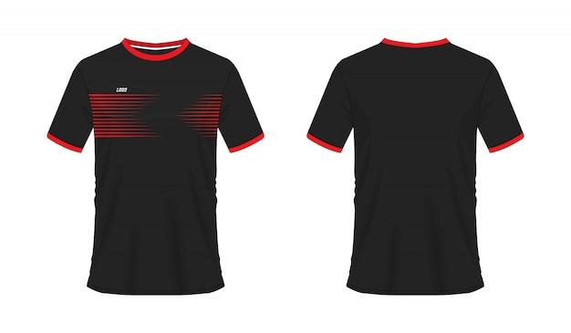 チームクラブのtシャツの赤と黒のサッカーまたはフットボールのテンプレート。ジャージースポーツ、
