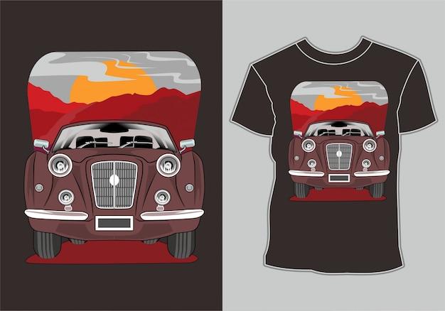 T shirt,retro vintage car illustration