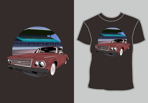 T shirt  retro vintage car in mountain