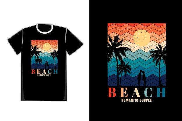 ビーチサンシャインタイトルビーチロマンチックカップルのtシャツロマンチックなカップル
