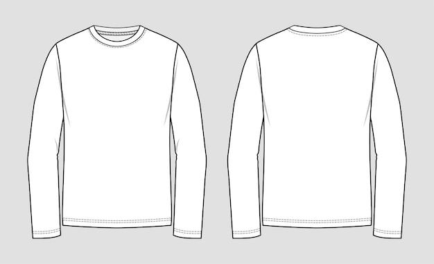 Tシャツラウンドネック。長袖。服の技術的なスケッチ。
