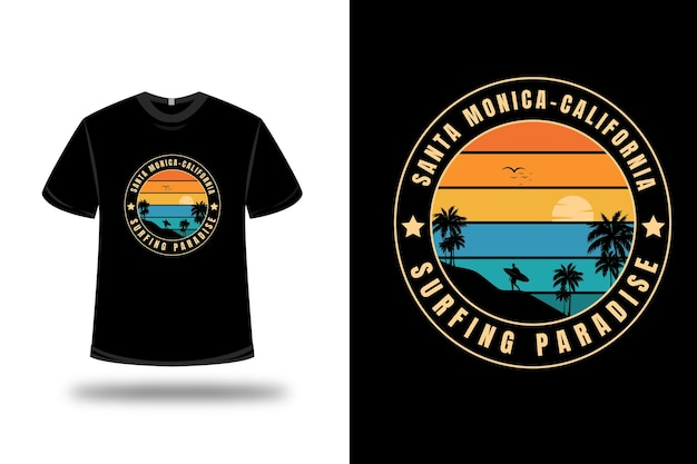 T-shirt santa monica california surfing paradise color orange and green