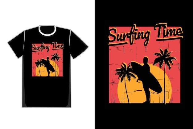 Tシャツシルエットビーチサーフィンツリー夕焼け空美しい