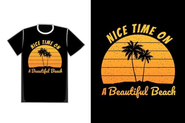Tシャツシルエットビーチツリーヤシ美しいビーチ日没夏