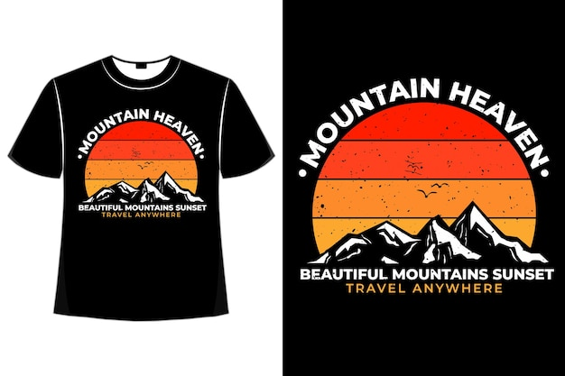 T-shirt silhouette mountain heaven sunset retro