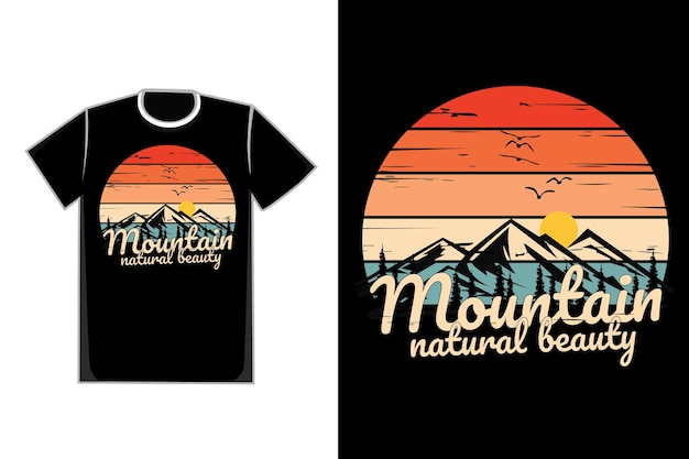 T-shirt silhouette mountain natural beauty pine tree vintage