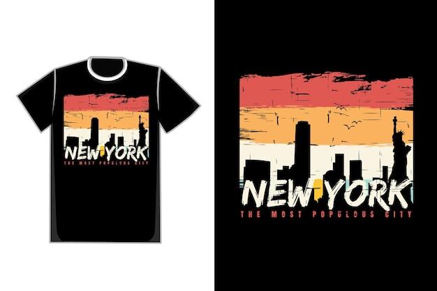 Tシャツシルエットニューヨークシティレトロ美しいヴィンテージ
