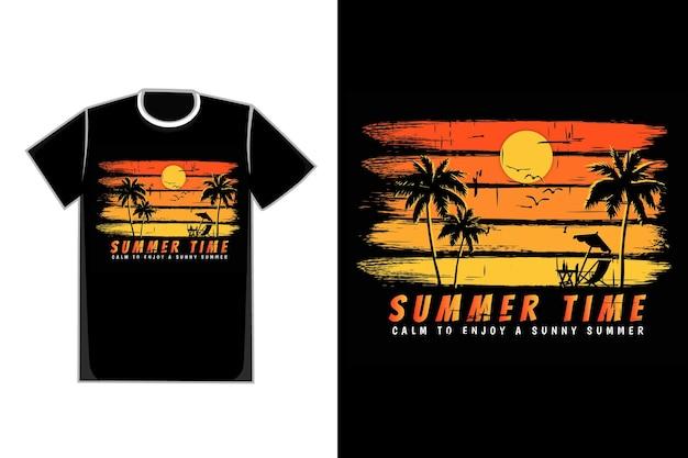 Tシャツシルエット夏時間日没美しい空