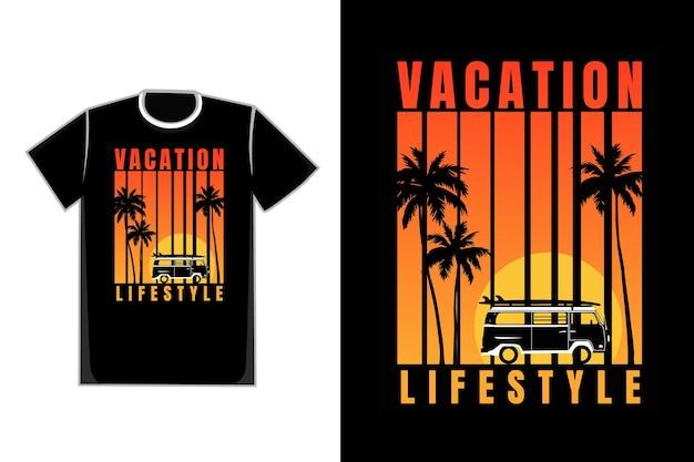 Tシャツシルエット休暇日没夏美しいヴィンテージスタイル
