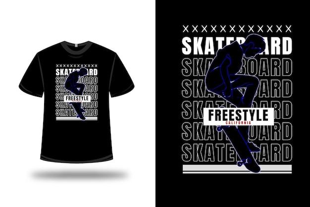 티셔츠 스케이트보드 자유형 캘리포니아 색상 파란색과 흰색