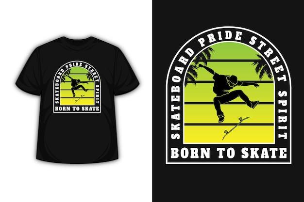 Футболка скейтборд ride street spirit, рожденная для катания на коньках, цвет зеленый и градиент